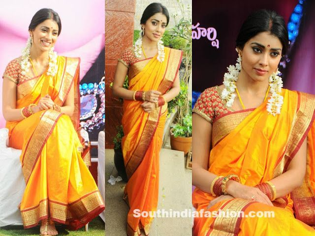 Shriya saran looking elegant in yellow silk saree with gold zari border, paired up with red and gold designer blouse.