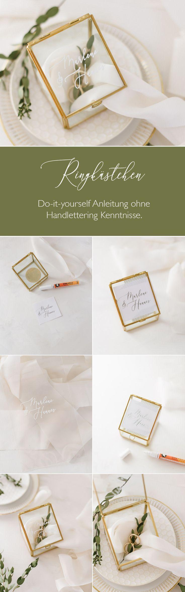DIY Anleitung für ein Ringkästchen mit kalligrafischen Namen – ohne Vorkenntni… – Boho Wedding/ Hochzeit