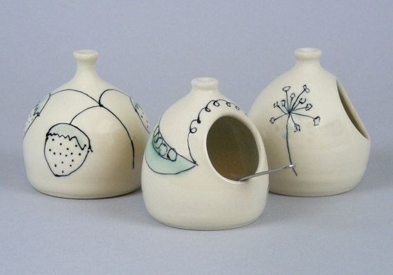 Salt Cellar Salt Pigs Sea Salt Holder Salt Dish by APrydePottery