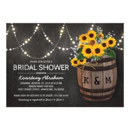 #rustic - #Lights Rustic Vineyard Sunflower Bridal Shower Card