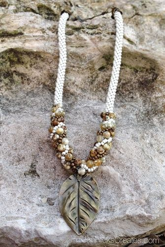 Kumihimo Beaded Necklace - Falling Leaves - NOT A TUTORIAL, JUST AN IDEA - USE WITH BEADS NOT TRIED BEFORE
