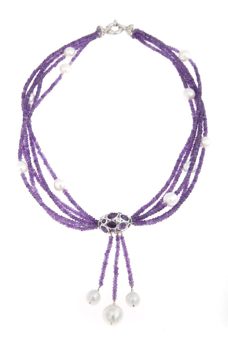 Troy O'Brien Fine Jewellery's Passion on the Rocks! Amethyst and South Sea pearl beaded necklace with amethyst set white gold feature bead