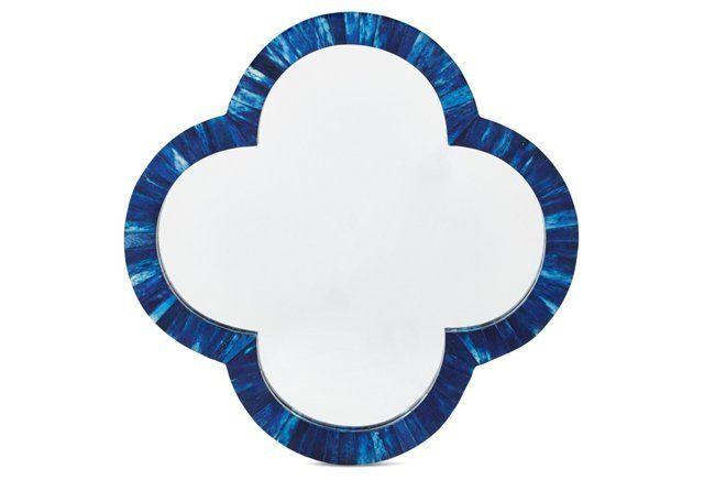 Bone Wall Mirror, Blue
