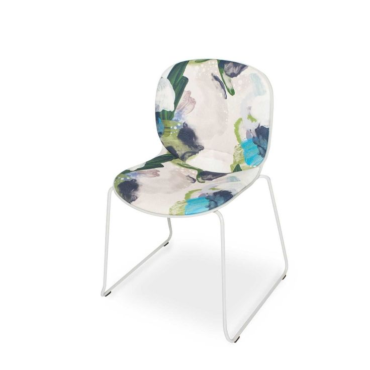 RBM Noor chair x English Rose in Forest with Grey Shell |Sledge by Reeta Ek | FEATHR™    Featuring English Rose fabric, a bold and contemporary design by Reeta Ek. Layered brushstrokes interact, creating a work of depth, intrigue and dramatic, raw emotion.  The movement of the artist's brush is retained in the paint that forms this stunning fabric.