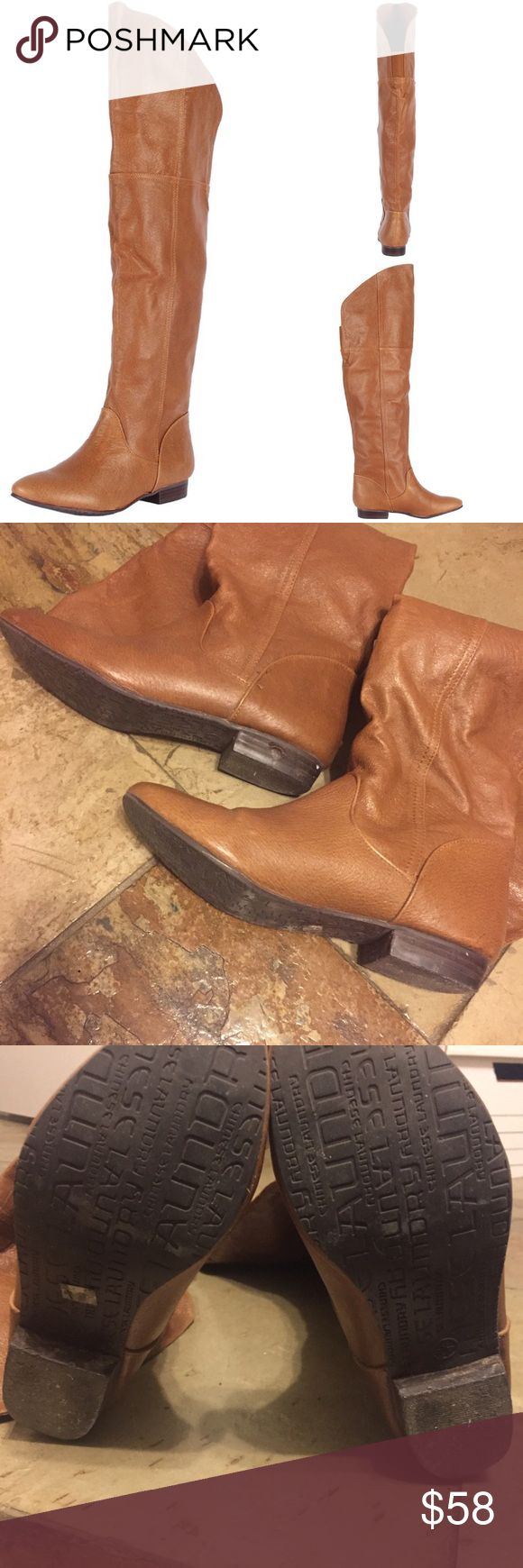 "Genuine leather Over the knee boots Good used condition over the knee boots. These match everything! ""South Bay over the knee boots"" on cognac. 1/2 inch heel height. 19 inch shaft, 12 inch circumference. Genuine leather. Offers welcome! Chinese Laundry Shoes Over the Knee Boots"