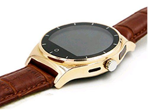 Generic Heart Rate Monitor Bluetooth Leather Watch strap Smart watch for IOS and Android gold -- Check out this great product.