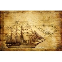 022VE XXXL - Icke-Vävd / Non-Woven Fototapet Ship Compass