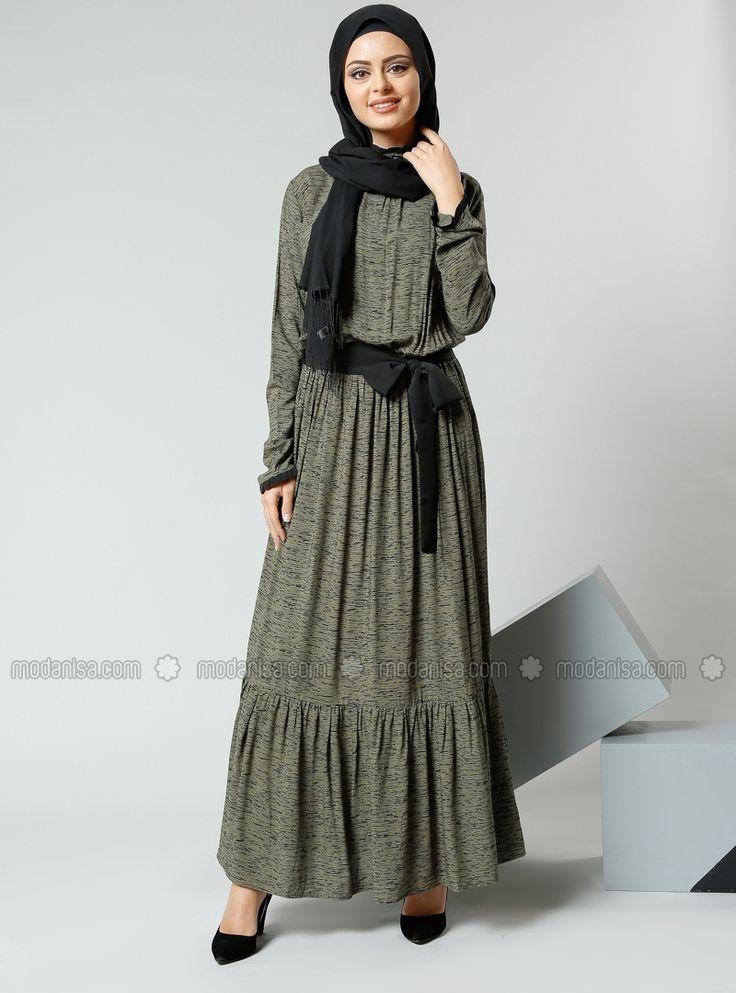 Natürel Kumaşlı Beli Büzgülü Elbise - Haki - Refka