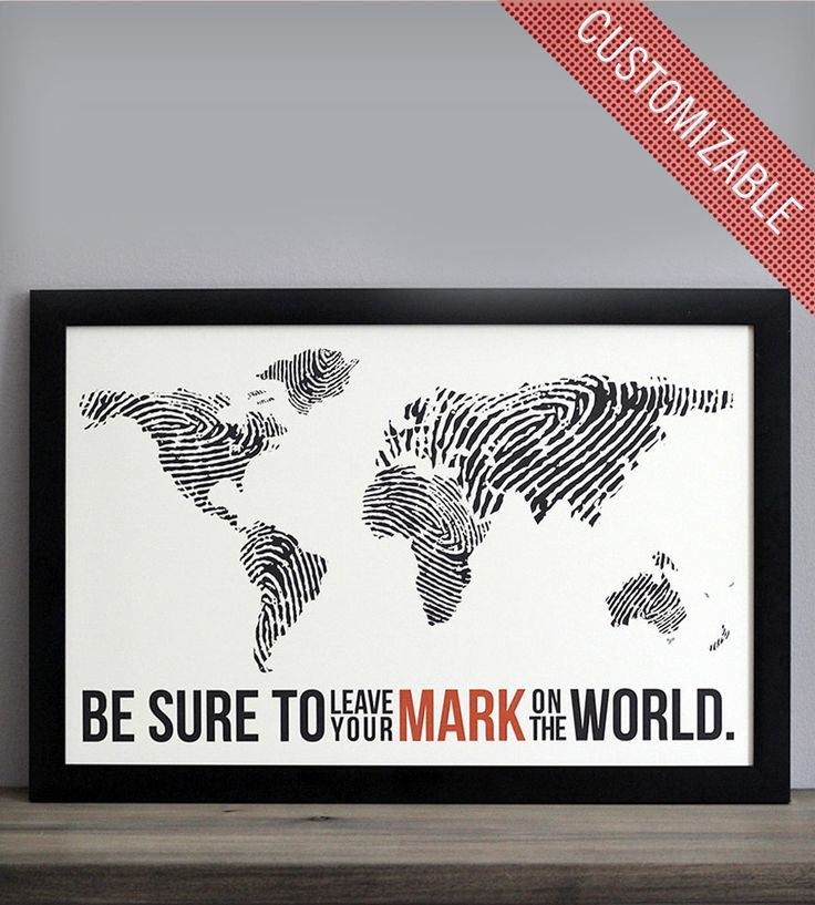"Fingerprint World Map Print by The Oysters Pearl on Scoutmob Shoppe. ""Be Sure to Leave Your Mark on the World"" graphic print."