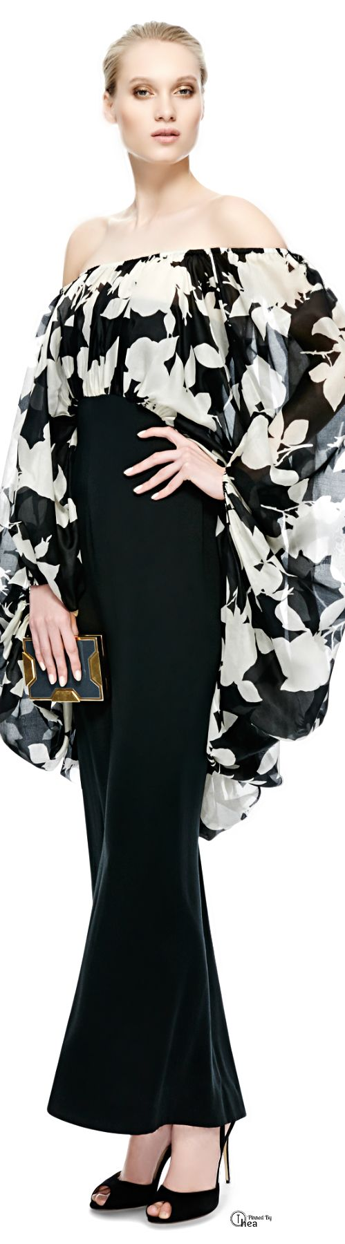 YSL ● Black And White Print Organza Gown
