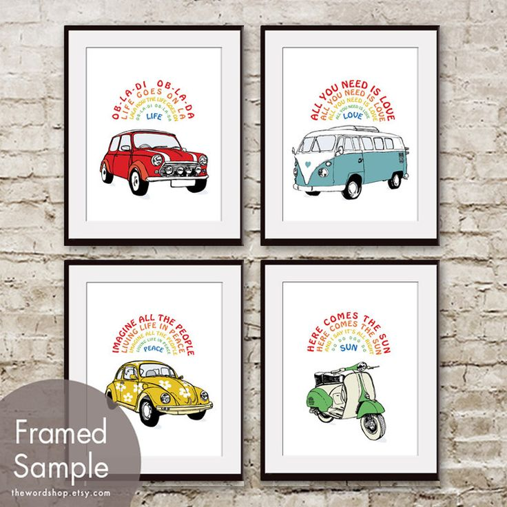 Beetles Car Art Series - Set of 4 8x10 Print (Featured in assorted colors). $38.85, via Etsy - http://www.etsy.com/listing/107586568/beetles-car-art-series-set-of-4-8x10?ref=sr_gallery_13_search_query=hippie+nursery_view_type=gallery_ship_to=US_page=4_search_type=all_facet=hippie+nursery