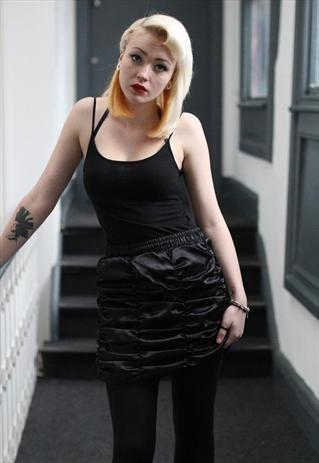 Pretty Disturbia Black Punk Grunge Ruffle satin gather skirt