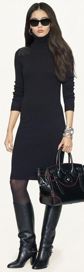 Un perfecto LBD outfit ideal para ahora que empiece a bajar la temperatura toen todo para mantenerse caliente medias, botas y cuello de tortuga  Ralph Lauren