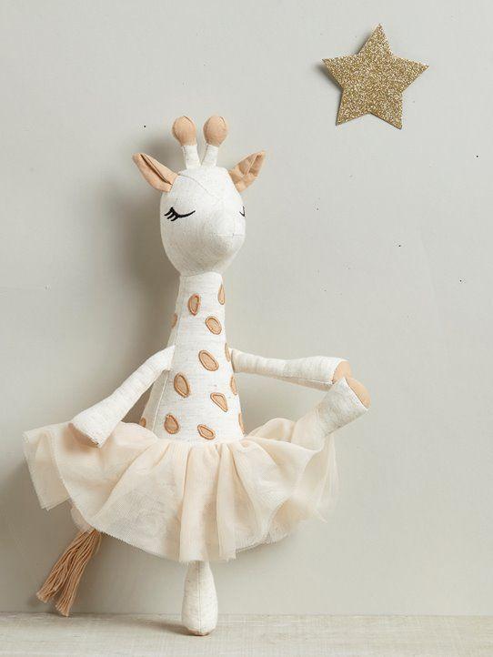 Animal en peluche & # 39; girafe & # 39; en tutu beige / rose pastel   – Kinderzimmer