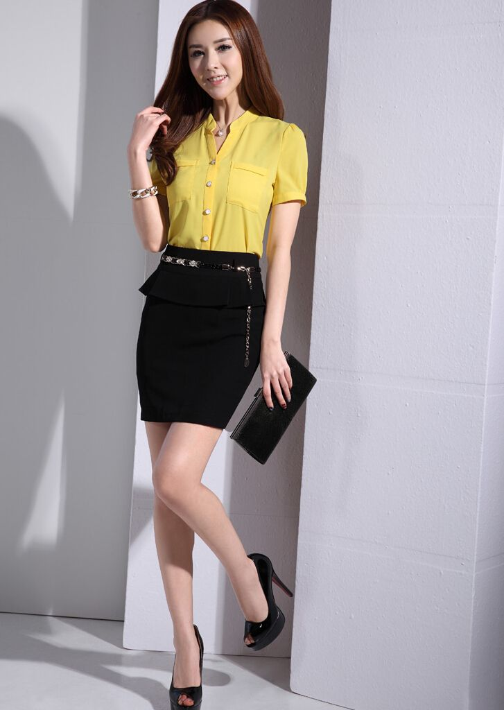 Women's #yellow short sleeve #shirt casual office working style V neck design, Button fastenings on the front.