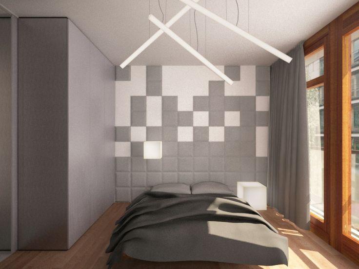 Inspiracja. Sypialnia z wykorzystaniem miękkich paneli ściennych 3D Fluffo (kolekcja PIXEL - Fluffo, Fabryka Miękkich Ścian). Projekt by: www.baumillerkossowska.pl