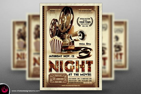 Night at the Movies Flyer + Ticket by ThatsDesign on Creative Market