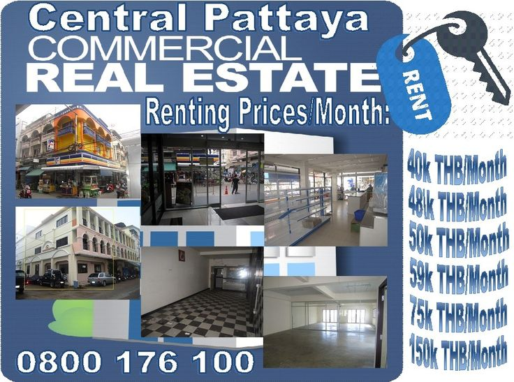 Commercial Buildings for rent in Pattaya: 6 Different buildings for rent in the commercial center of Pattaya, rentals between 40,000.00 THB up to 150,000.00 THB with small differences in rental conditions but all of them top located and reasonable low priced. Call 0800176100 or look at our offers first: http://businessforsalepattaya.com/commercial-spaces-for-rent-pattaya/