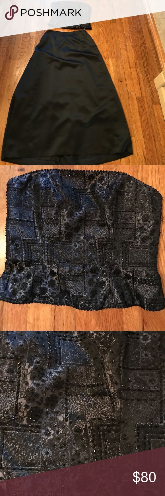 Mieka beaded strapless corset Beautiful pewter beaded corset.  Goes great with black evening skirt.  All items sold separately. Tops