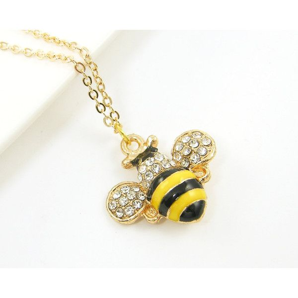 Bumble Bee Necklace Black Yellow Enamel Clear Rhinestone Pendant... (66 ILS) via Polyvore featuring jewelry, pendants, enamel pendant, yellow jewelry, chain pendants, chain pendant necklace and long necklace pendant