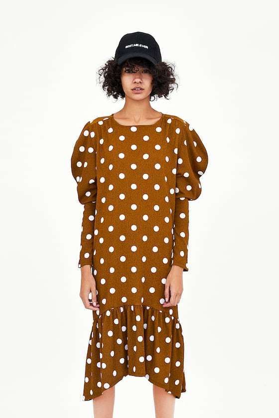 2809d188 54.99 | ZARA POLKA DOT LONG SLEEVE BROWN MIDI DRESS SZ M NEW ❤ #zara #polka  #long #sleeve #brown #midi #dress #Collage #Curvy #Over40 #Casuales #Mujer  ...