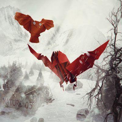mountain, winter, origami, animals, eagle, owl - illustration 3d
