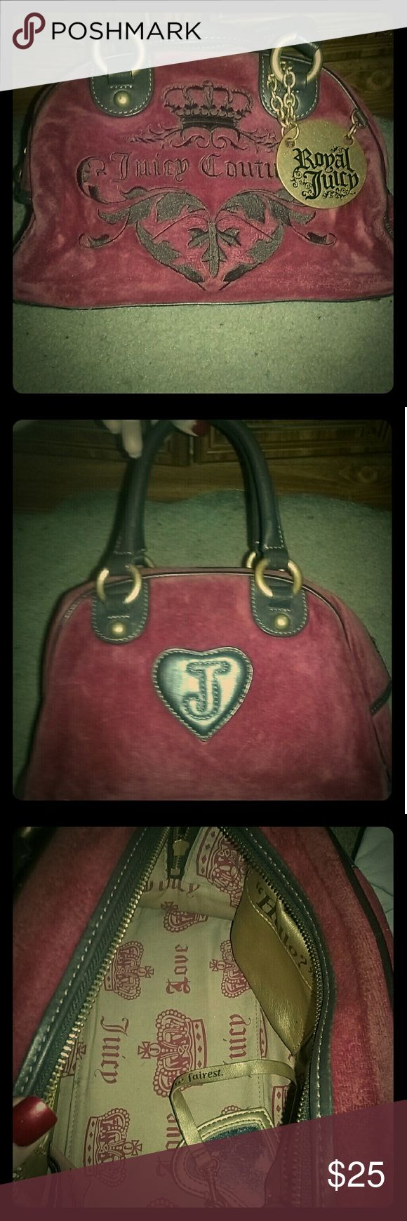 ??Authentic Juicy couture purse ? Juicy Couture Burgundy bowler bag with original gold charm & interior mirror attached.  Pre loved, but still in excellent condition. Juicy Couture Bags Mini Bags