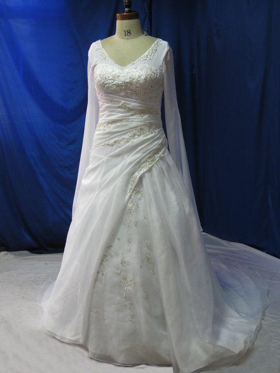 Plus Size Wedding Dress with Sleeves by WeddingDressFantasy, $819.00