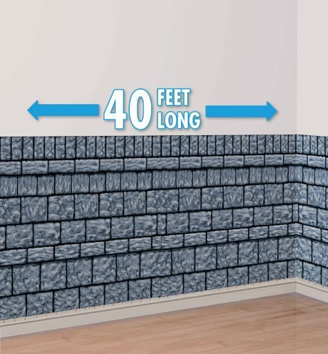 Stone Wall Room Roll - Party City Enter the dungeon, and don't forget to lock the door! This Stone Wall Room Roll transforms your family room, office, or — ahem — basement into a somber scene of gray stone block, waiting for you to add pictures of the family! Hang this lightweight vinyl wall decoration with Sticky Tack (sold separately)
