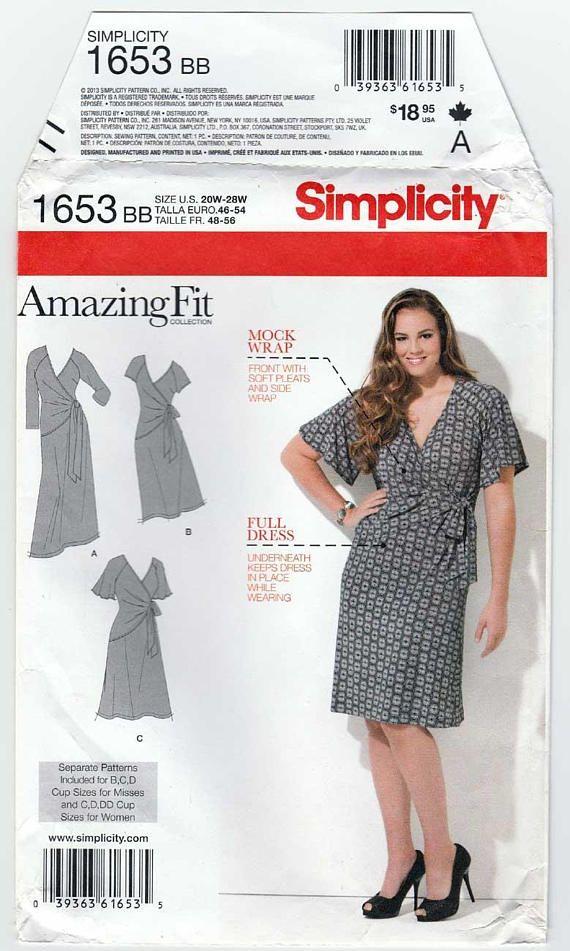 Plus Size Wrap Dress Pattern : dress, pattern, Women's, Dress, Sewing, Pattern, Patterns,, Dress,