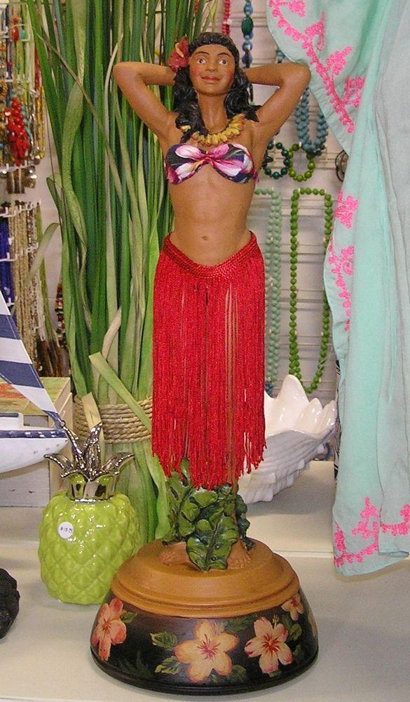 Amazing LARGE Hawaiian Statue - Hula Girl Wahine - 48cm tall - retro surf