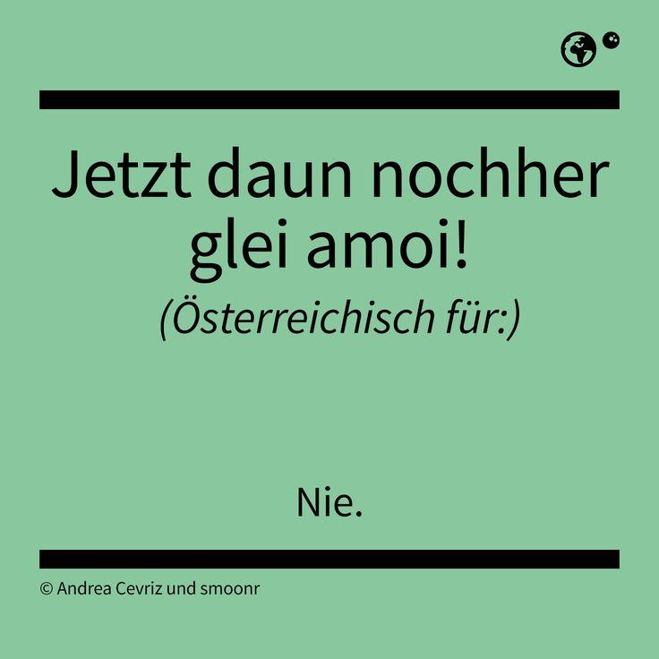 """""""Jetzt daun nochher glei amoi!"""" - Österreichisch für: Nie."""