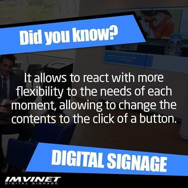 An obvious advantage is that the Digital Signage system allows you to react more flexibly to the needs of each moment allowing you to change the contents displayed at the click of a button. For more information contact us by email: info@imvinet.com or visit our website www.imvinet.com #digitalboards  #digital  #digitalsignage  #menuboards  #informations  #tecnology