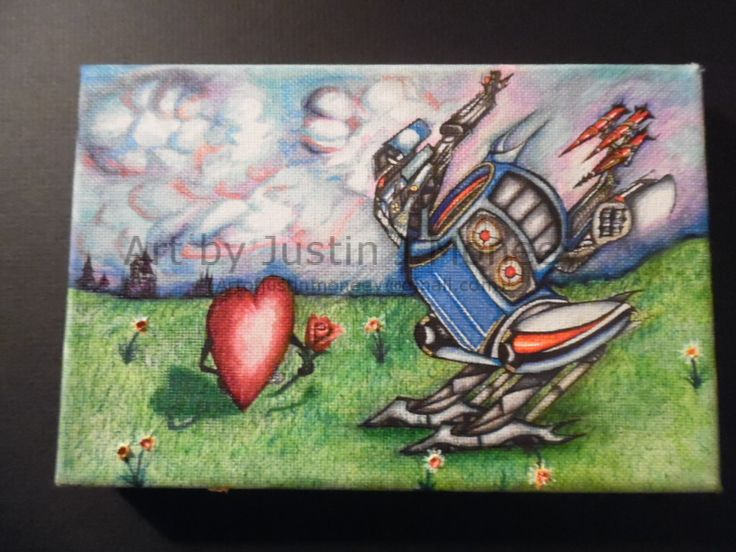 $140.69  justinmoneey.tumblr.com https://www.facebook.com/artofjustinmoneey Robot Chicken by Justin Moneey   This is the first picture available to be sold in the Rebel Heart series. It contains a huge chicken shaped robot armed with missiles & BFG's.  Its Sky Color Camouflages it when flying. The legs fold up into the carriage and head seals above. It is still undetermined what is inside the robot or what else it can do. Its bright lights shine down on the heart seeking approval with a…