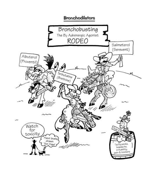 Bronchodilators in cartoon form with horses depicting the