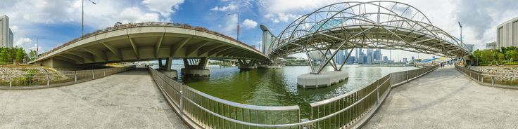 The Helix Bridge, previously known as the Double Helix Bridge, is a pedestrian bridge linking Marina Centre with Marina South in the Marina Bay area in Singapore.The building of a landmark Bridge at Marina Bay was first announced in Mar 2006. The Bridge will link the Bayfront area to Marina Centre, completing a walking route that brings visitors to the major attractions around the bay and is envisaged to be a destination point by itself – a pl...