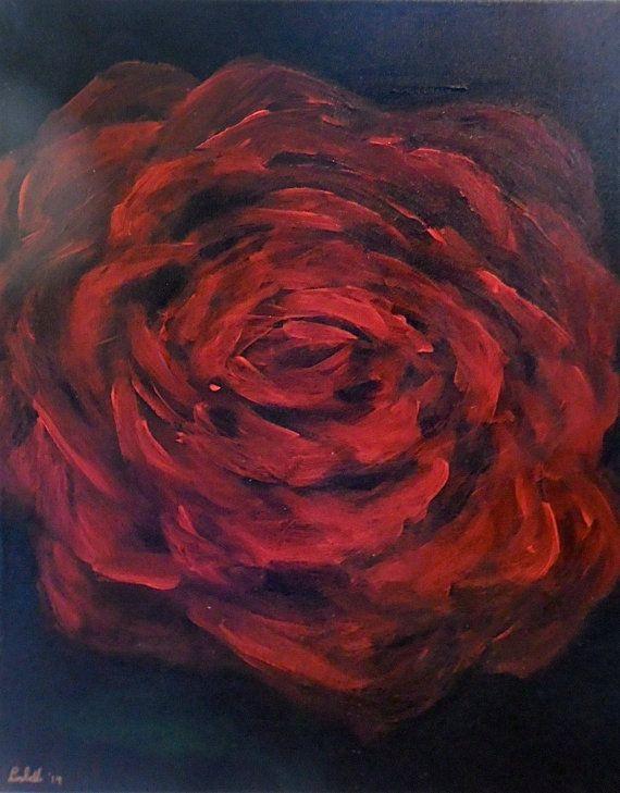 Origineel handgeschilderde schilderij / rode roos / door Aparticle