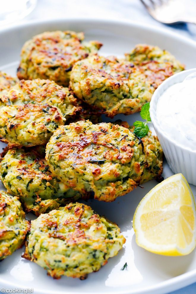 Oven Baked Zucchini And Feta Cakes (Fritters) – so light, simple to make and…