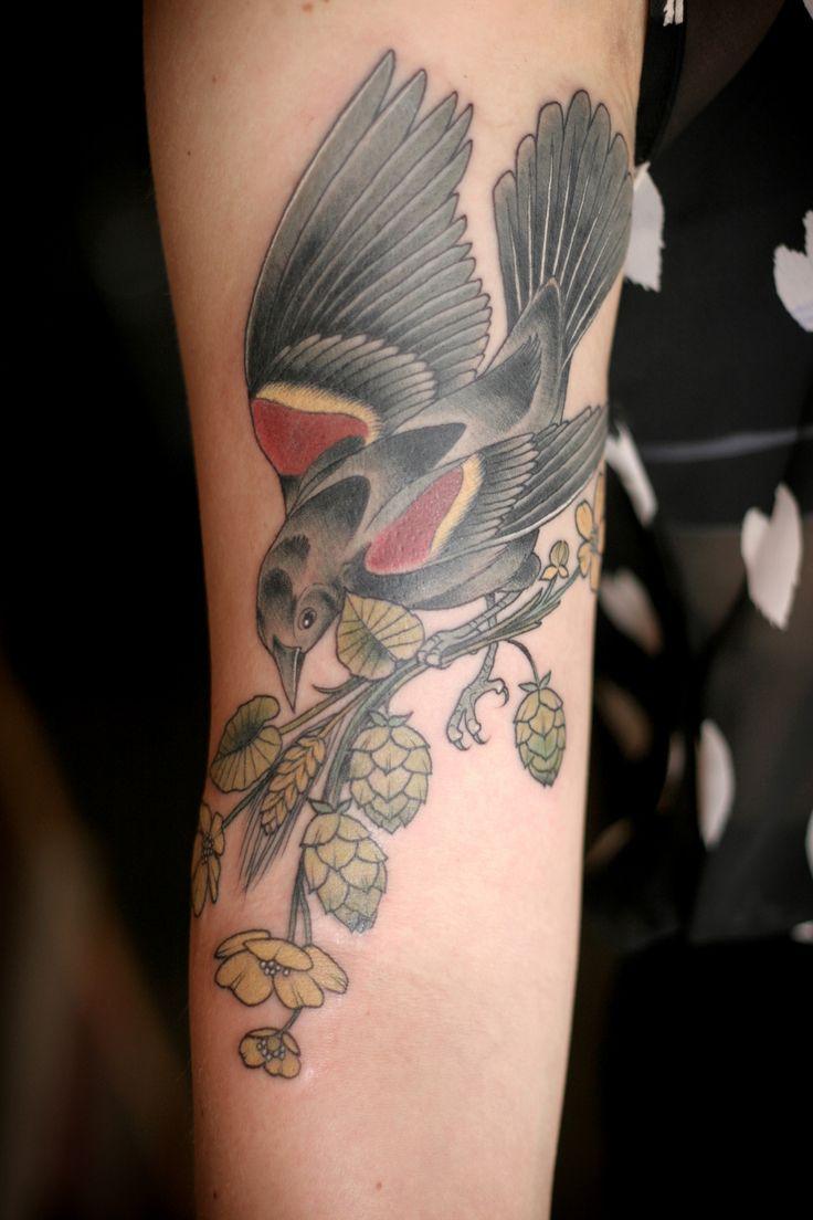 Red winged blackbird, brewing botanicals, and buttercups. Kirsten Holliday Wonderland Tattoo, Portland, Oregon http://kirstenmakestattoos.tu...
