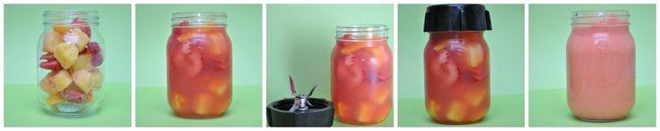 Great idea: oster blender screws on mason jar & jar fits on blender to blend.