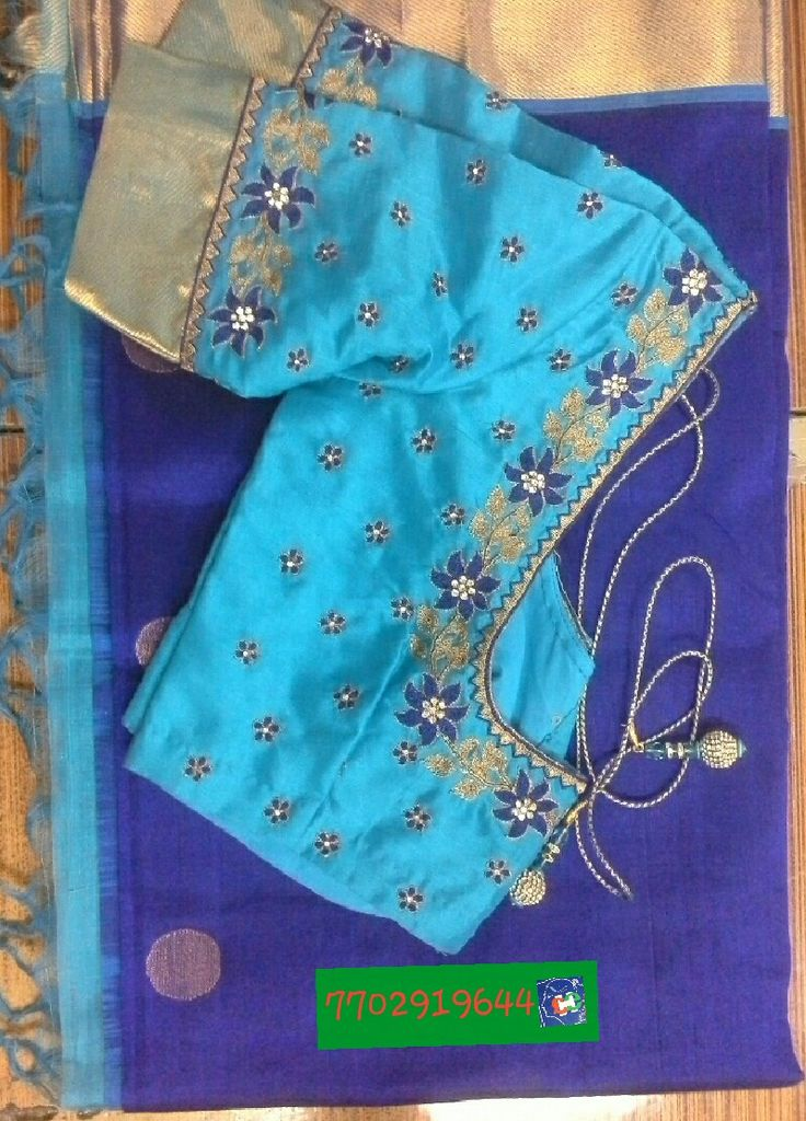 Chandheri saree blouse with maggam work 7702919644