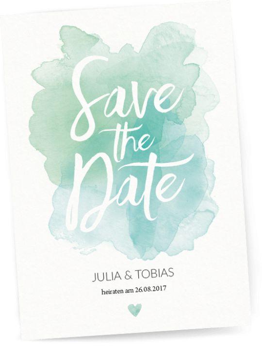 Save the Date - Pastel Aquarelle - Hochzeitseinladung mit Wasserfarbe