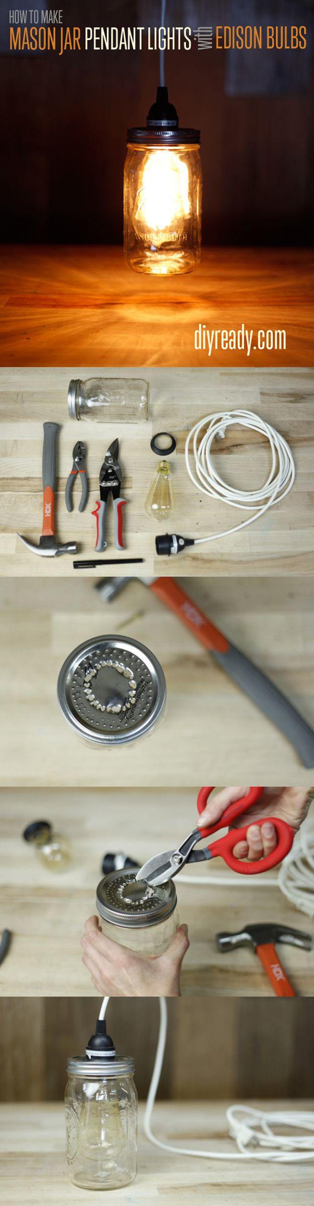 Mason Jar Pendant Lights | 26 DIY Mason Jar Crafts You Can Make In Under an Hour at http://diyready/com/mason-jar-crafts-in-under-an-hour
