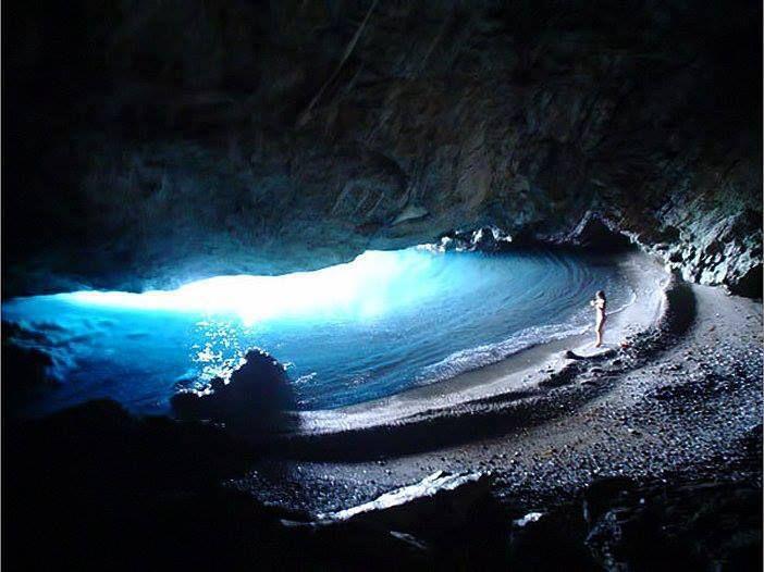 Secret cave beach near Chiliadou, Evoia, mainland Greece