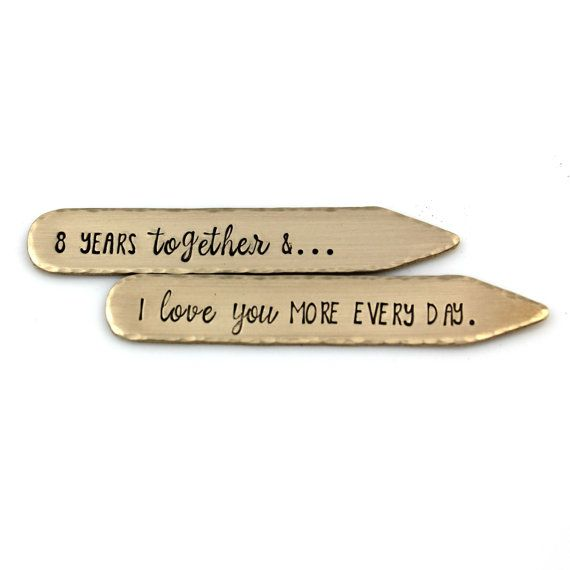 GIVE YOUR MAN AN 8TH ANNIVERSARY GIFT AS SWEET AS IT IS USEFUL...BRONZE HAND STAMPED COLLAR STAYS Gift for Him www.TinyEpicMoments.com