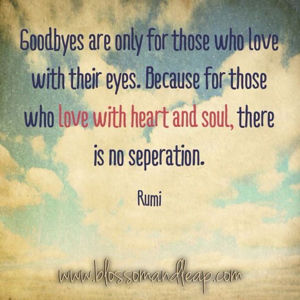 goodbyes are only for those who love with their eyes. because for those who love with heart and soul there is no separation -rumi