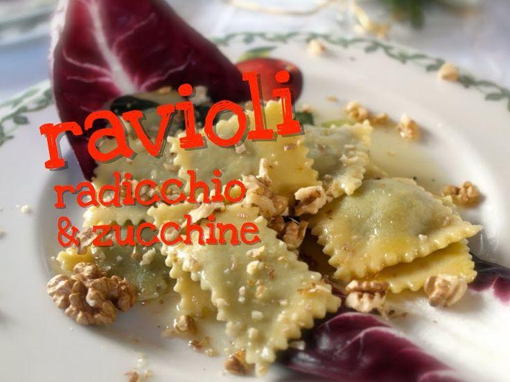 Ricetta dei Ravioli Radicchio e Zucchine fatti in casa, un primo di pasta fresca facile. Ottimo per il menù di Natale ideale anche per gli amici vegetariani
