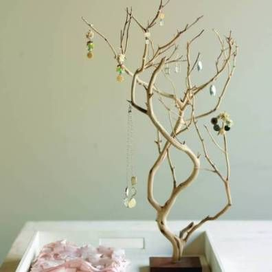 Look for a good branch to make this jewelry tree.