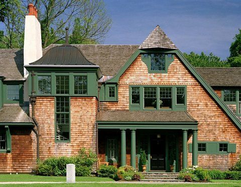 Green Trim Is Yummy Shingled House Exteriors Pinterest