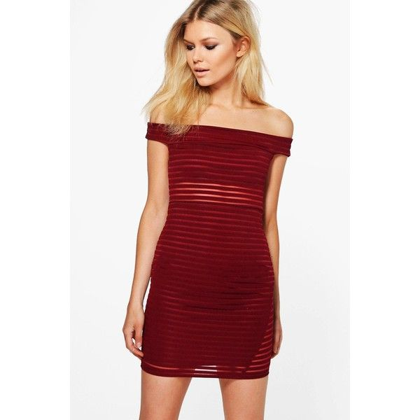 Boohoo Petite Rosie Burn Out Bardot Bodycon Dress (250 MXN) ❤ liked on Polyvore featuring dresses, boohoo dresses, red bodycon dress, petite bodycon dresses, burnout dress and body conscious dress